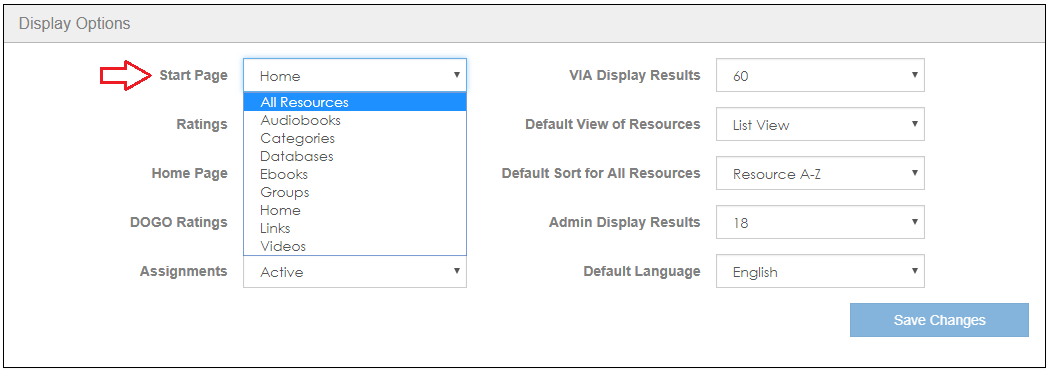 Display Options-Start Page