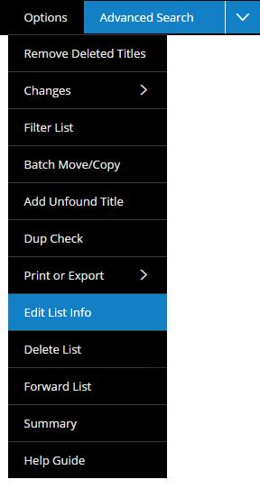 Edit List Info