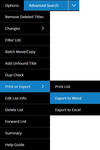 Export Lists